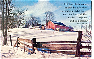 Farm Scene Red Barn Postcard Psalm 98:2-4 (Image1)