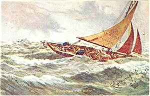 Rounding the Buoy Racing Yacht Postcard p12597 (Image1)