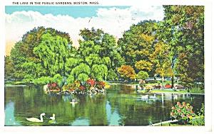Boston MA Lake in Public Gardens Postcard p12623 1934 (Image1)