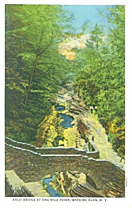 Arch Bridge Watkins Glen Ny Postcard P12661 1936