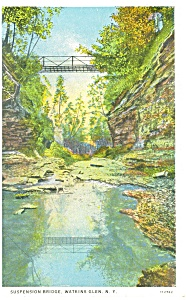 Suspension Bridge Watkins Glen Ny Postcard P12665 1936