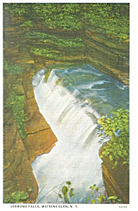 Diamond Falls Watkins Glen Ny Postcard P12667