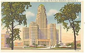 Buffalo NY City Hall and Monument Postcard p12672 (Image1)