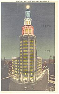 Buffalo NY Electric Bldg at Night Postcard p12679 1936 (Image1)