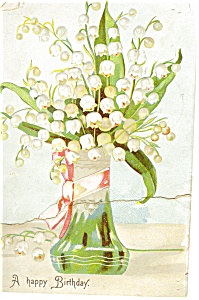 Birthday Postcard p12694 Lillies of the Valley 1908 (Image1)