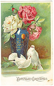 Birthday Postcard Doves and Flowers ca 1910 (Image1)