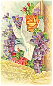 Birthday Postcard Dove and Flowers ca 1910 (Image1)