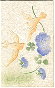 Birthday Postcard Doves and Flowers ca 1909 (Image1)