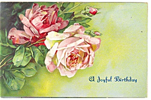 Birthday Postcard p12744 With Roses ca 1908 (Image1)