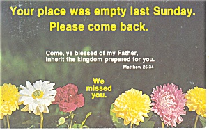 Your place was empty last Sunday   Postcard p12765 (Image1)