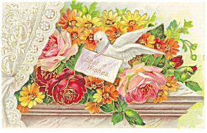 Best Wishes with Roses Postcard p12803 (Image1)