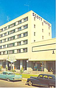 Thomasville, GA, Scott Hotel Cars 50s Postcard 1964 (Image1)