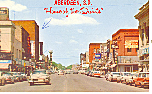 Aberdeen,SD, Street Scene Cars 50s Postcard 1965 (Image1)
