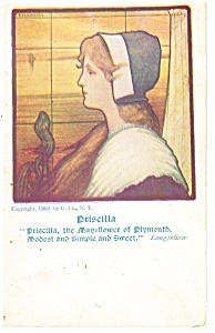 Priscilla the Mayflower of Plymouth Postcard p13000 1902 (Image1)