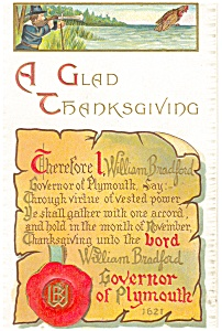 A Glad Thanksgiving Bradford Proclamation Postcard p13002 (Image1)