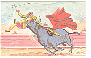 Sometimes The Bull Wins, Artist Signed Postcard