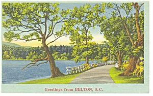 Belton, SC Wooded Road and Lake Postcard (Image1)