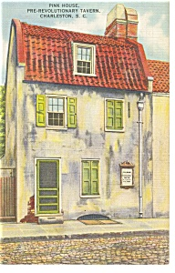 Charleston, SC Pink House Tavern Postcard 1948 (Image1)