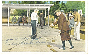 Playing Shuffleboard in Florida Postcard p13123 1940 (Image1)