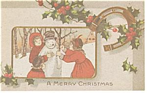 Victorian Kids Making Snowman Christmas Postcard p13155 (Image1)
