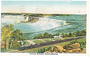 Michigan Central Steam Train at Niagara Falls Postcard p13179 (Image1)