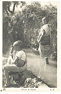 African Children, A l'Oued Postcard (Image1)