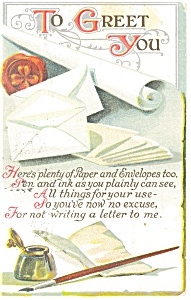To Greet You Postcard p13256 Pen and Ink well 191 (Image1)