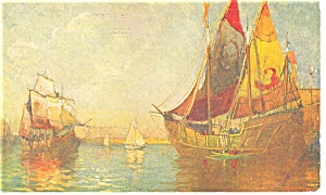 Sailing Vessels in Harbor Postcard p13288 1908 (Image1)