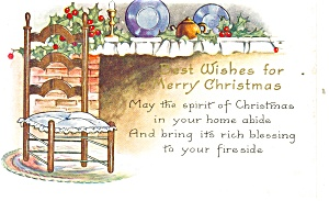 Christmas Postcard Fireplace Scene 1931 (Image1)