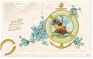 Birthday Postcard Sailing Ship 1910 (Image1)