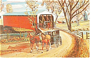 Covered Bridge Amish Carriage Postcard p13324  1976 (Image1)
