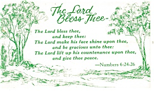 The Lord Bless Thee  Postcard Numbers 6:24-26 p13351 (Image1)