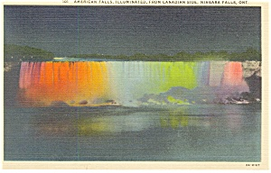 American Falls Illuminated From Canada Postcard P13490