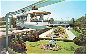 Miami Seaquarium Space Rail Postcard p13494 1970 (Image1)