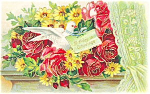 Birthday Greetings Postcard 1909 (Image1)