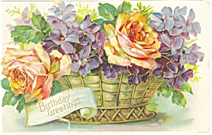 Birthday Greetings Roses Postcard 1910 (Image1)
