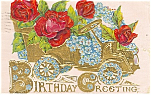 Birthday Greetings Automobile Postcard p13571 1908 (Image1)