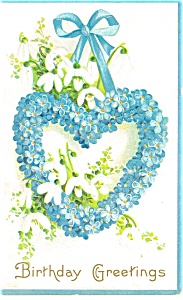 Birthday Greetings Heart of Flowers Postcard (Image1)