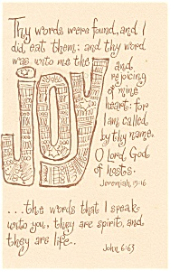 Thy words were found, Jeremiah15:16 Postcard 1987 (Image1)