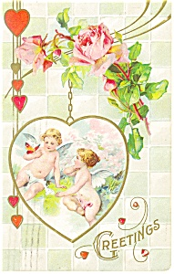 Greetings Hearts And Cherubs Postcard P13595 1921