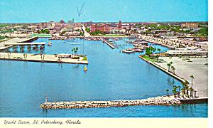 St Petersburg FL Yacht Basin Postcard p13666 1967 (Image1)