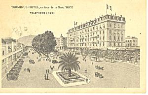 Terminus Hotel, Nice, France Postcard 1922 (Image1)