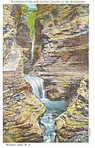 Watkins Glen NY Minnehaha Falls Postcard p1373 (Image1)