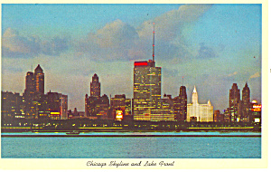 Chicago, IL, Skyline at night Postcard 1962 (Image1)
