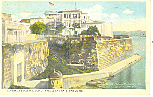 Puerto Rico Governors Palace City Wall Postcard p13835 1925 (Image1)