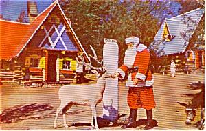 Wilmington  NY Santa and Blitzen Postcard p1384 (Image1)