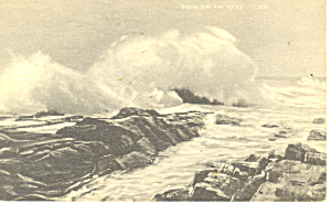 Ocean Surf And Rocks Postcard 1942