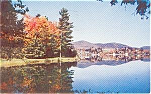 Lake Placid  NY  Mirror Lake Postcard  p1387 (Image1)