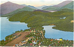 Lake Placid  NY  Mirror Lake Aerial Postcard p1388 (Image1)