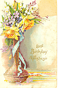 Birthday Postcard With Vase of Flowers (Image1)